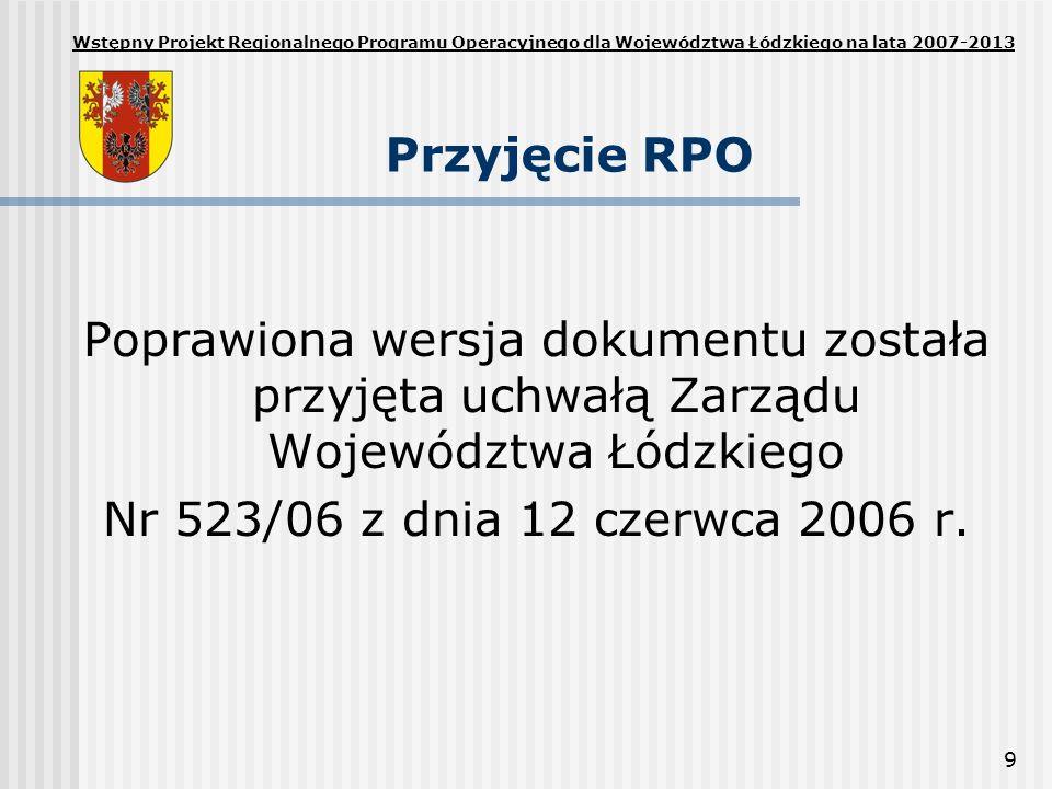 Wstępny Projekt Regionalnego Programu Operacyjnego dla Województwa Łódzkiego na lata 2007-2013