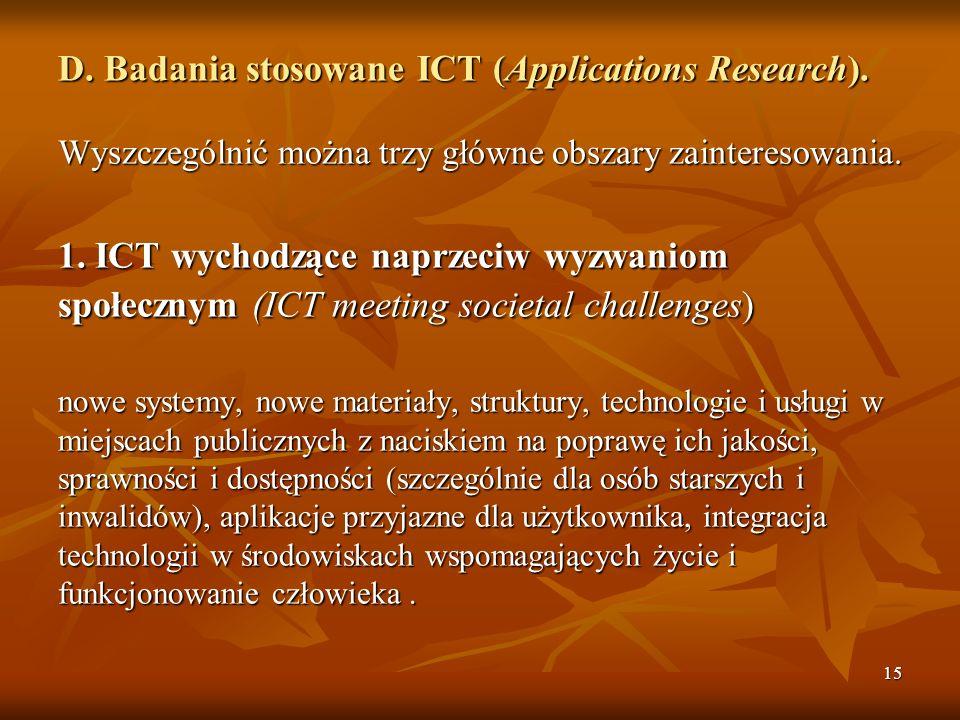 D. Badania stosowane ICT (Applications Research).
