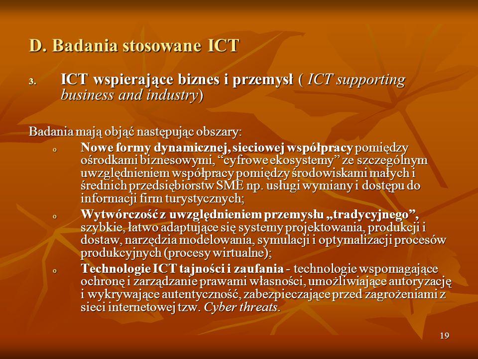 D. Badania stosowane ICT
