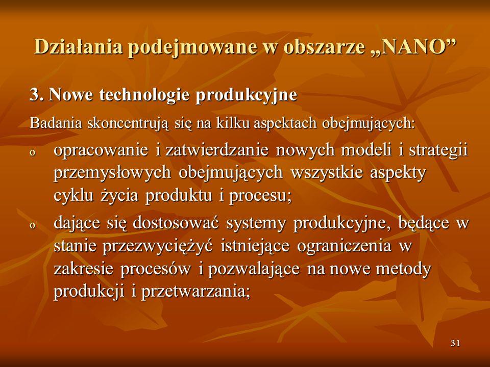 """Działania podejmowane w obszarze """"NANO"""