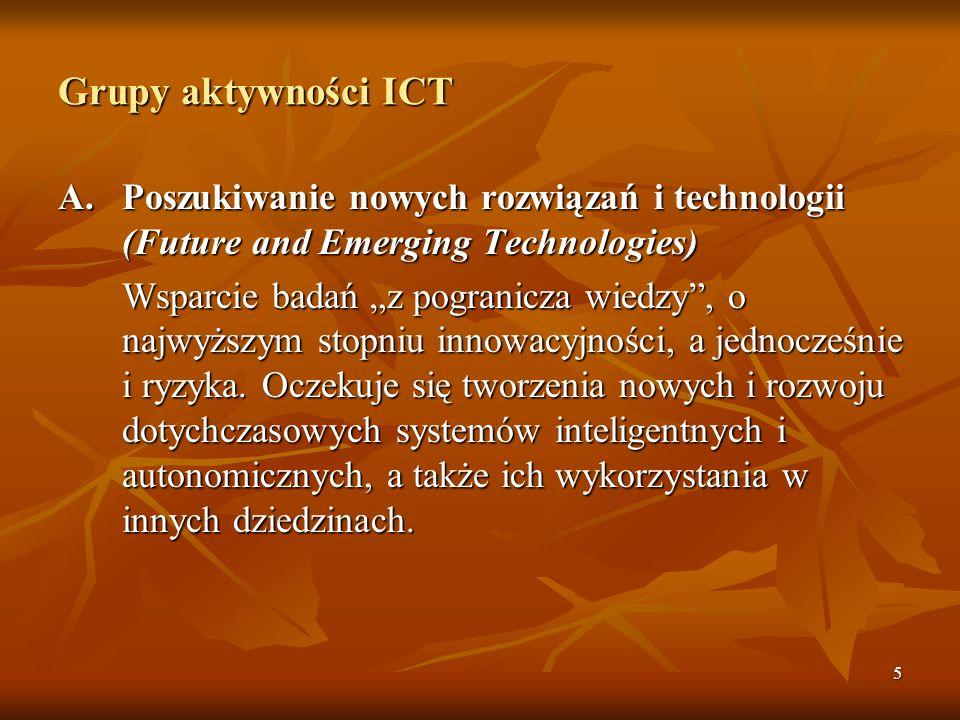 Grupy aktywności ICT A. Poszukiwanie nowych rozwiązań i technologii (Future and Emerging Technologies)
