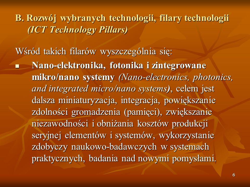 B. Rozwój wybranych technologii, filary technologii (ICT Technology Pillars)
