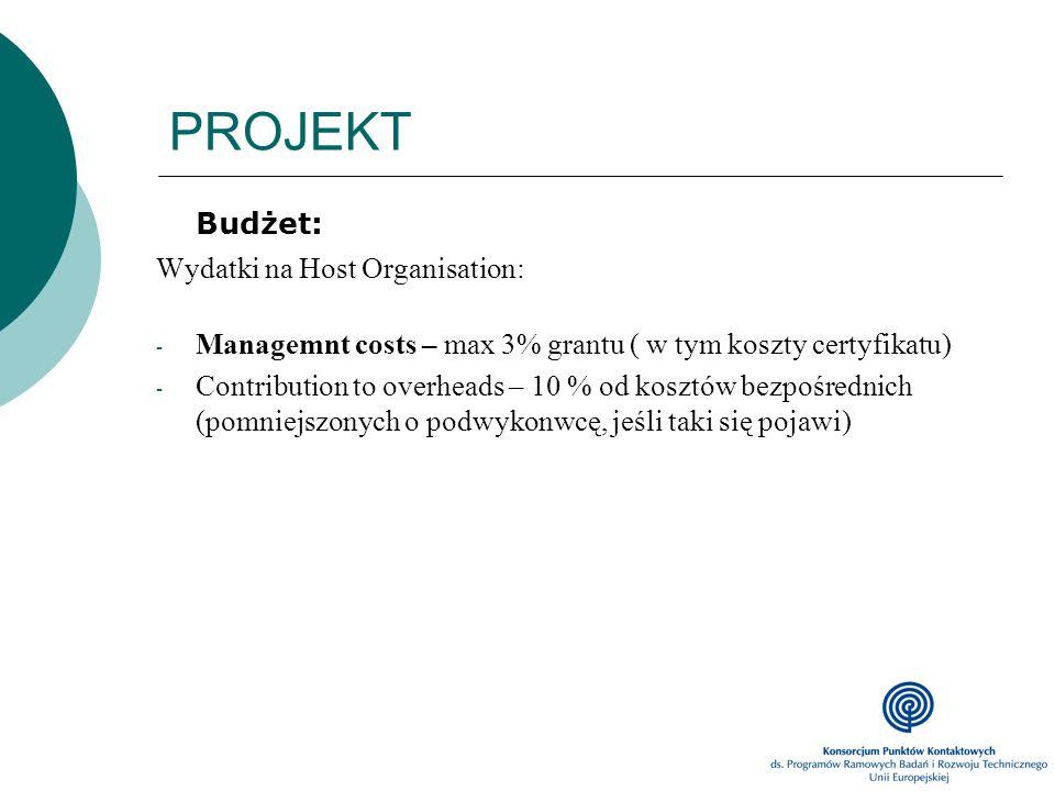 PROJEKT Budżet: Wydatki na Host Organisation: