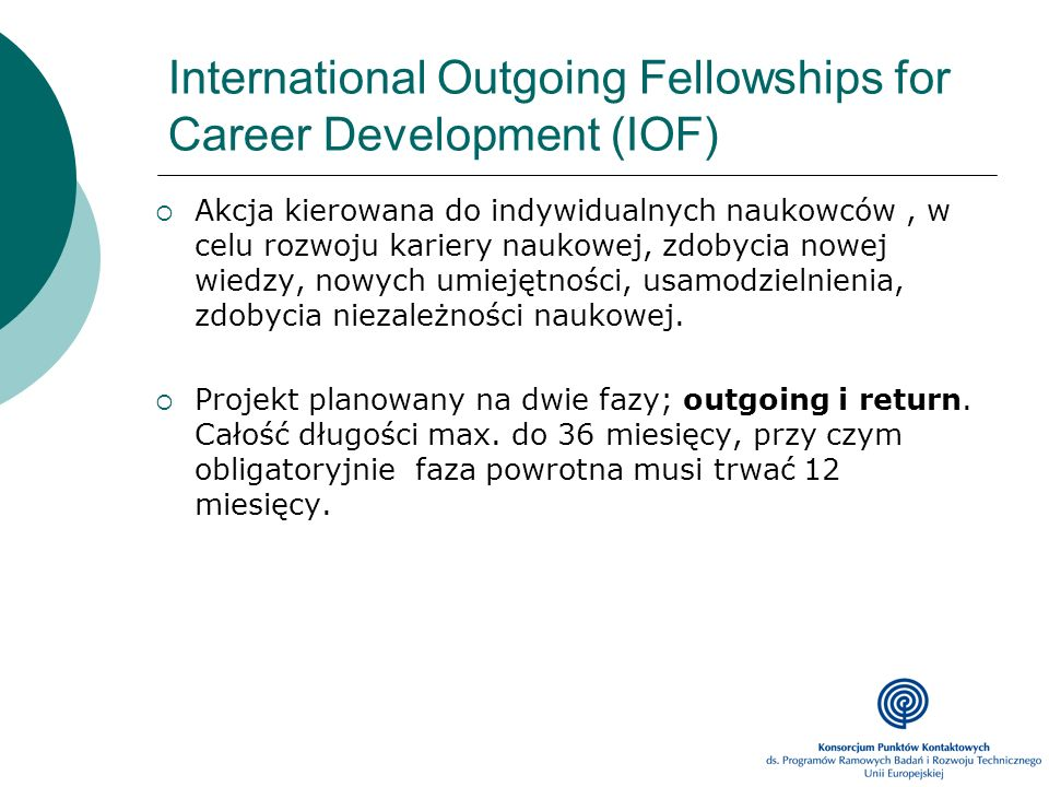 International Outgoing Fellowships for Career Development (IOF)