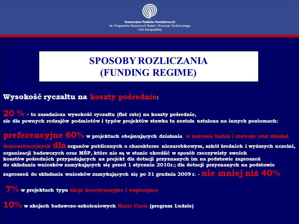 SPOSOBY ROZLICZANIA (FUNDING REGIME)