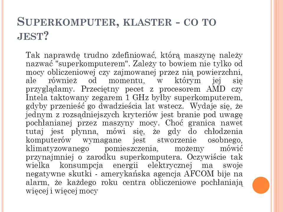 Superkomputer, klaster - co to jest