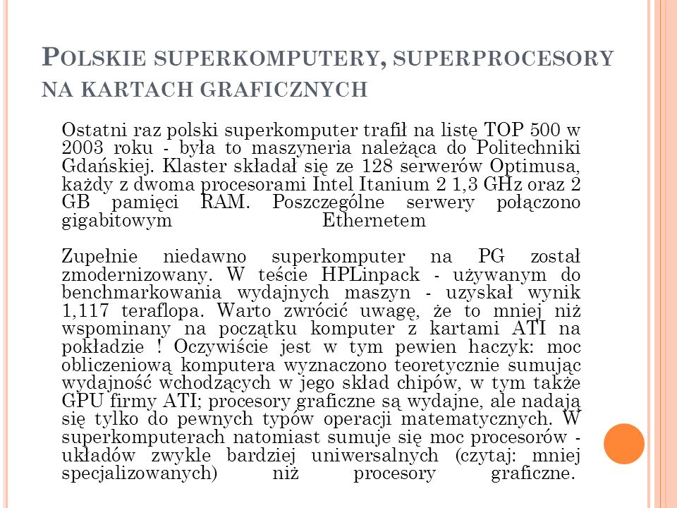 Polskie superkomputery, superprocesory na kartach graficznych