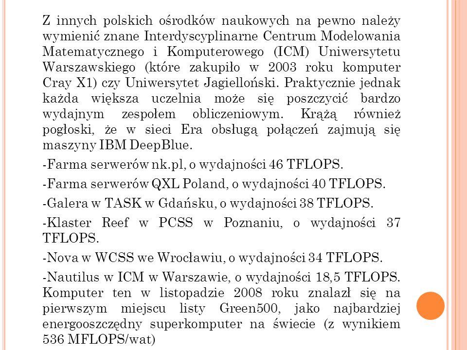 Z innych polskich ośrodków naukowych na pewno należy wymienić znane Interdyscyplinarne Centrum Modelowania Matematycznego i Komputerowego (ICM) Uniwersytetu Warszawskiego (które zakupiło w 2003 roku komputer Cray X1) czy Uniwersytet Jagielloński.