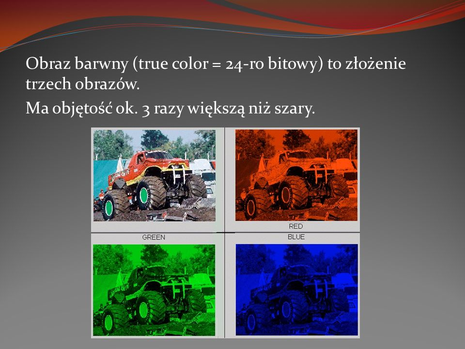 Obraz barwny (true color = 24-ro bitowy) to złożenie trzech obrazów.