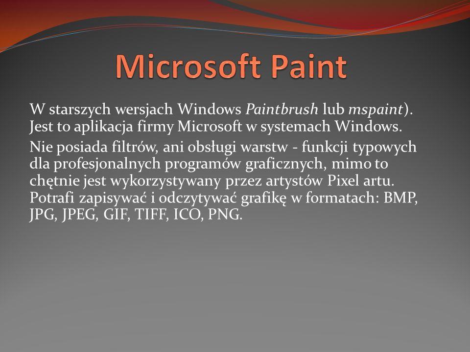 Microsoft Paint W starszych wersjach Windows Paintbrush lub mspaint). Jest to aplikacja firmy Microsoft w systemach Windows.