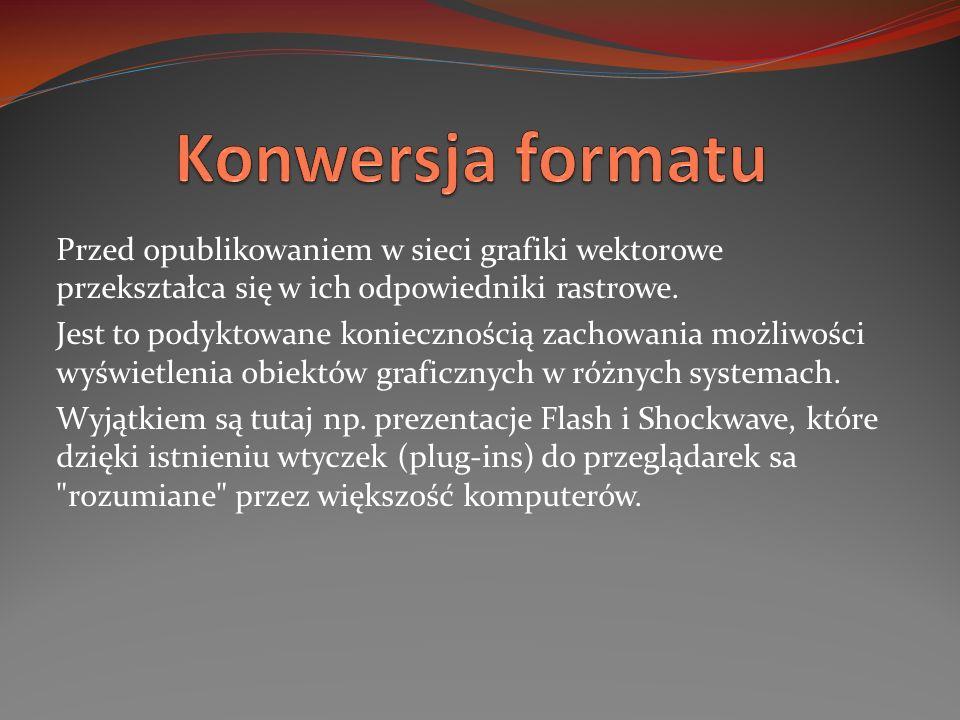 Konwersja formatu Przed opublikowaniem w sieci grafiki wektorowe przekształca się w ich odpowiedniki rastrowe.