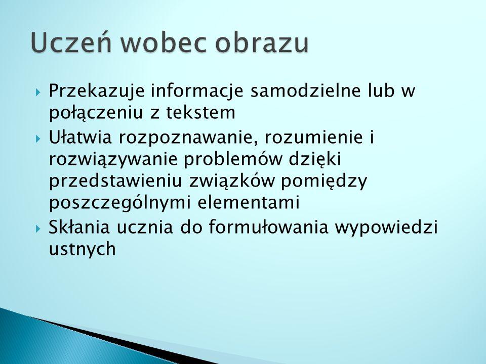 Uczeń wobec obrazu Przekazuje informacje samodzielne lub w połączeniu z tekstem.