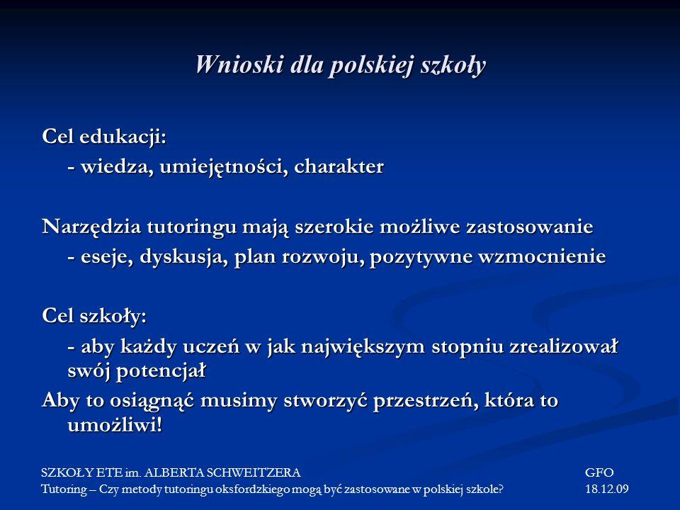 Wnioski dla polskiej szkoły
