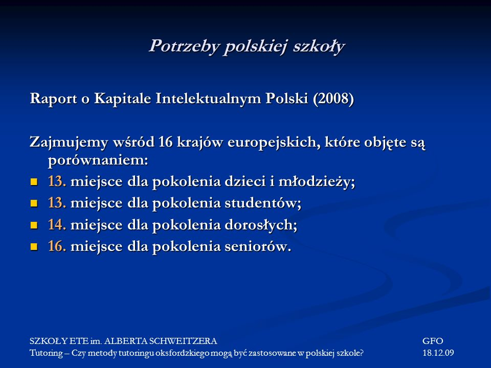 Potrzeby polskiej szkoły