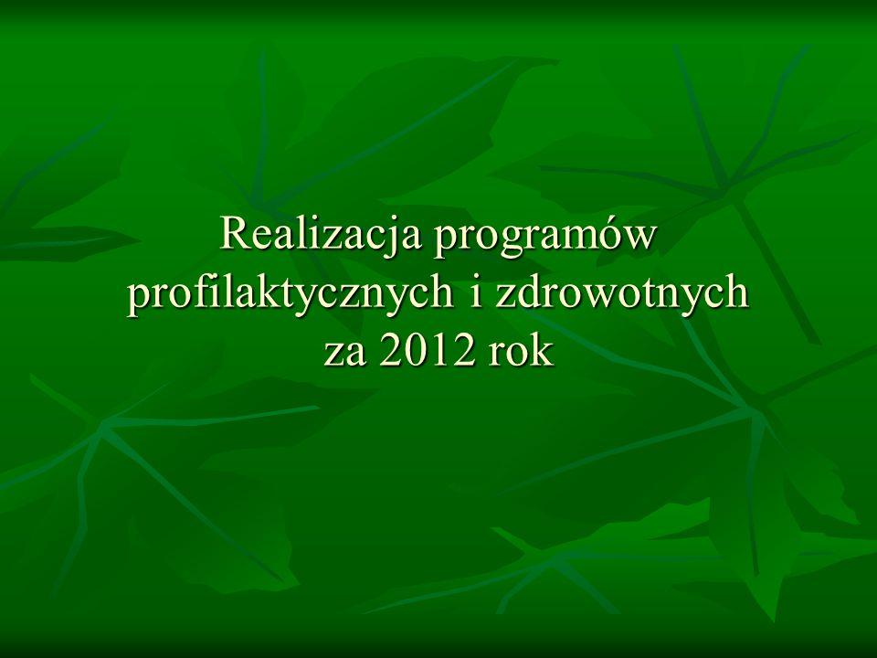 Realizacja programów profilaktycznych i zdrowotnych za 2012 rok