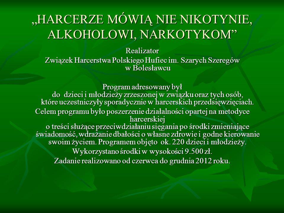 """""""HARCERZE MÓWIĄ NIE NIKOTYNIE, ALKOHOLOWI, NARKOTYKOM"""