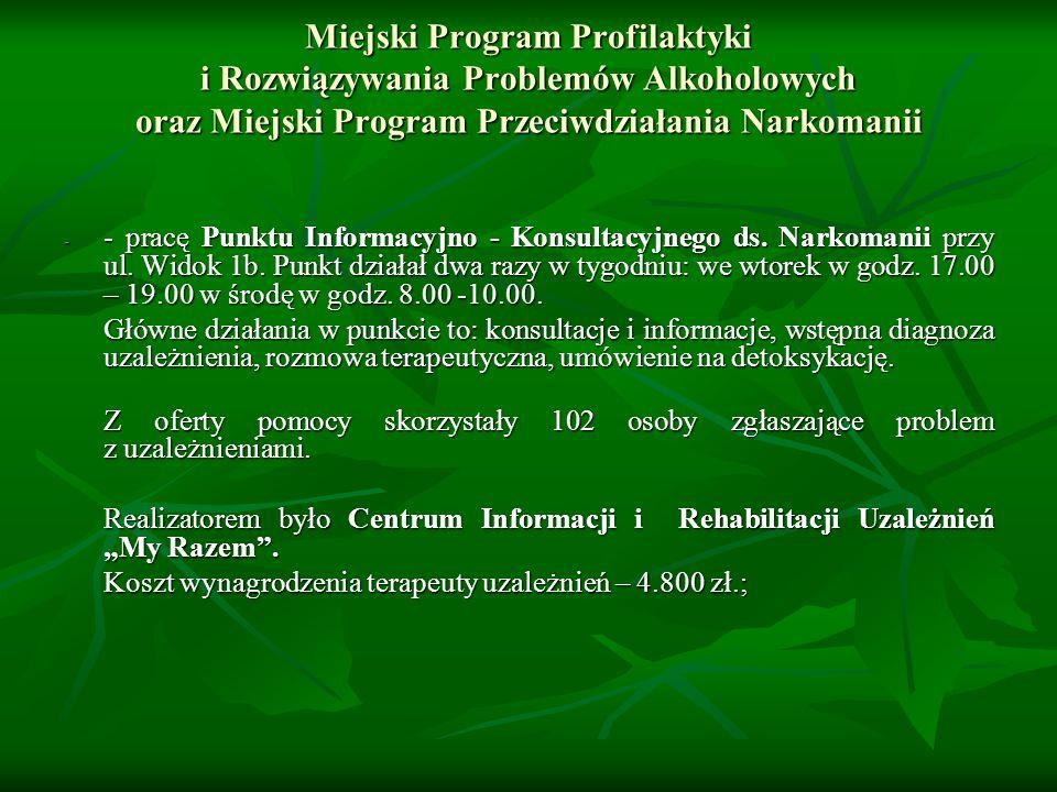 Miejski Program Profilaktyki i Rozwiązywania Problemów Alkoholowych oraz Miejski Program Przeciwdziałania Narkomanii