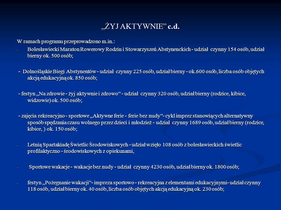 """""""ŻYJ AKTYWNIE c.d. W ramach programu przeprowadzono m.in.:"""