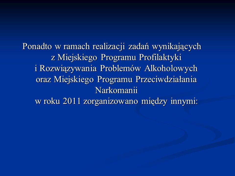 Ponadto w ramach realizacji zadań wynikających z Miejskiego Programu Profilaktyki i Rozwiązywania Problemów Alkoholowych oraz Miejskiego Programu Przeciwdziałania Narkomanii w roku 2011 zorganizowano między innymi: