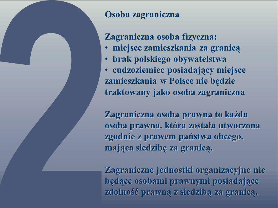Osoba zagraniczna Zagraniczna osoba fizyczna: miejsce zamieszkania za granicą. brak polskiego obywatelstwa.