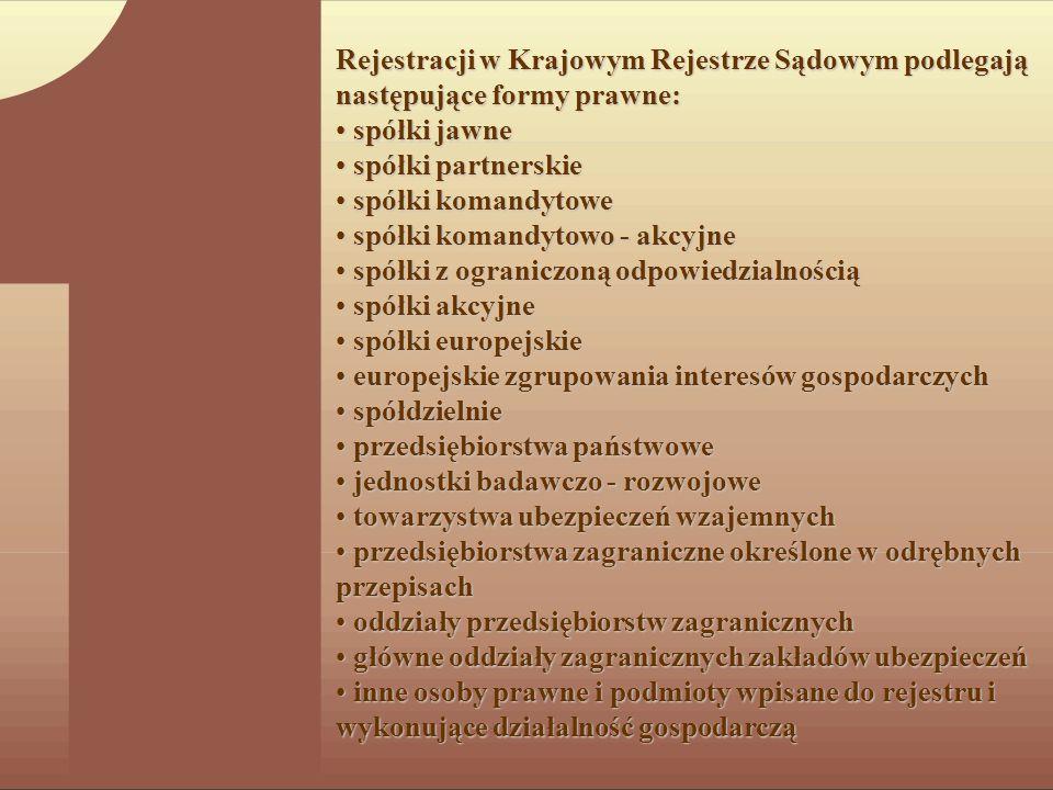 Rejestracji w Krajowym Rejestrze Sądowym podlegają następujące formy prawne:
