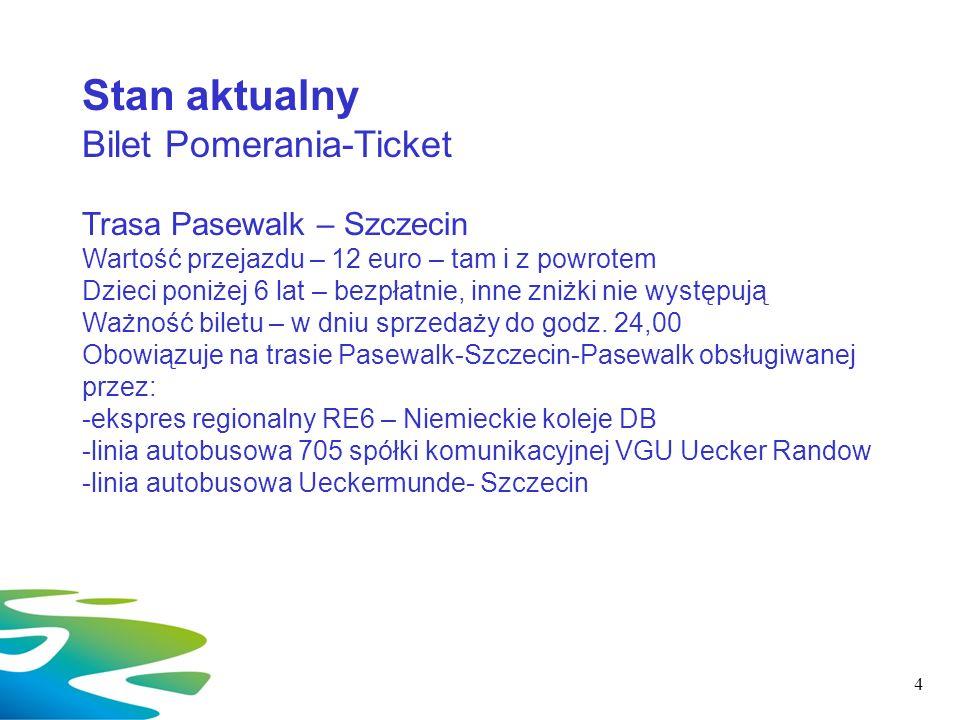 Stan aktualny Bilet Pomerania-Ticket Trasa Pasewalk – Szczecin