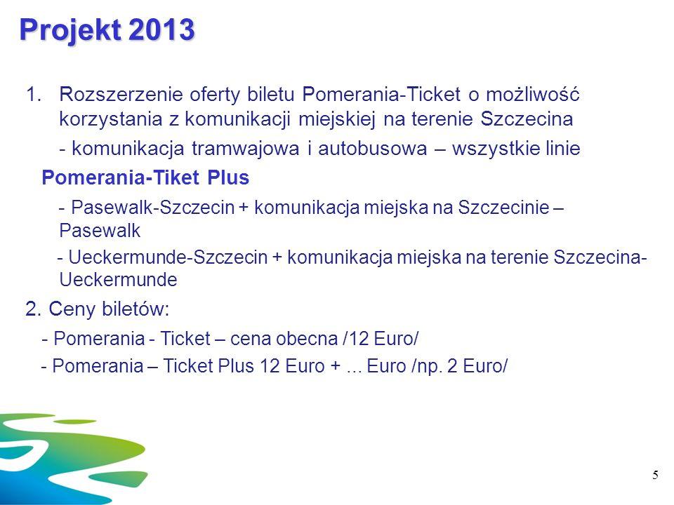 Projekt 2013 Rozszerzenie oferty biletu Pomerania-Ticket o możliwość korzystania z komunikacji miejskiej na terenie Szczecina.