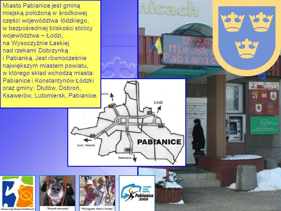 Miasto Pabianice jest gminą miejską położoną w środkowej części województwa łódzkiego, w bezpośredniej bliskości stolicy województwa – Łodzi, na Wysoczyźnie Łaskiej nad rzekami Dobrzynką i Pabianką.