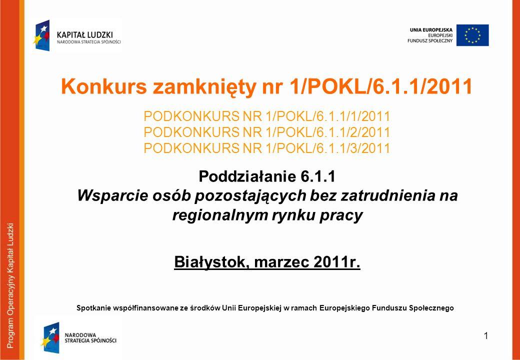 Konkurs zamknięty nr 1/POKL/6. 1. 1/2011 PODKONKURS NR 1/POKL/6. 1