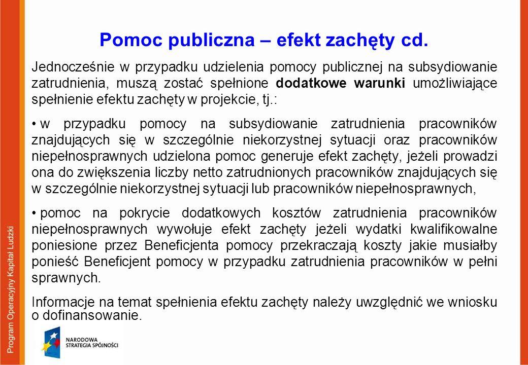 Pomoc publiczna – efekt zachęty cd.