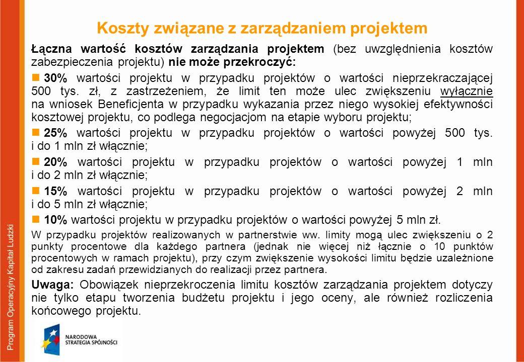 Koszty związane z zarządzaniem projektem