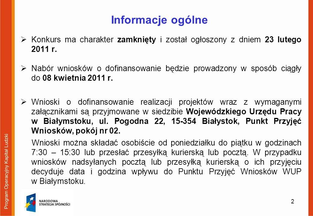 Informacje ogólne Konkurs ma charakter zamknięty i został ogłoszony z dniem 23 lutego 2011 r.