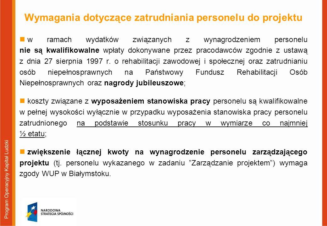 Wymagania dotyczące zatrudniania personelu do projektu