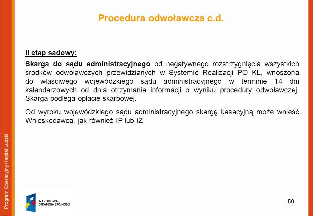 Procedura odwoławcza c.d.