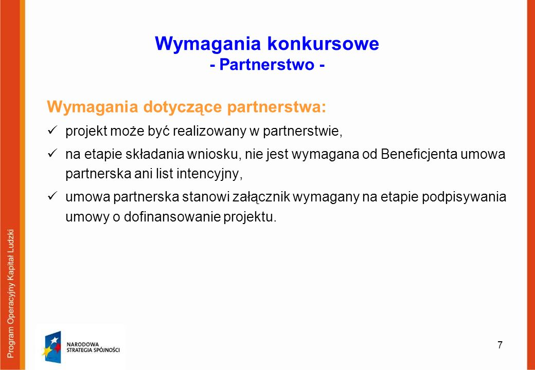 Wymagania konkursowe - Partnerstwo -