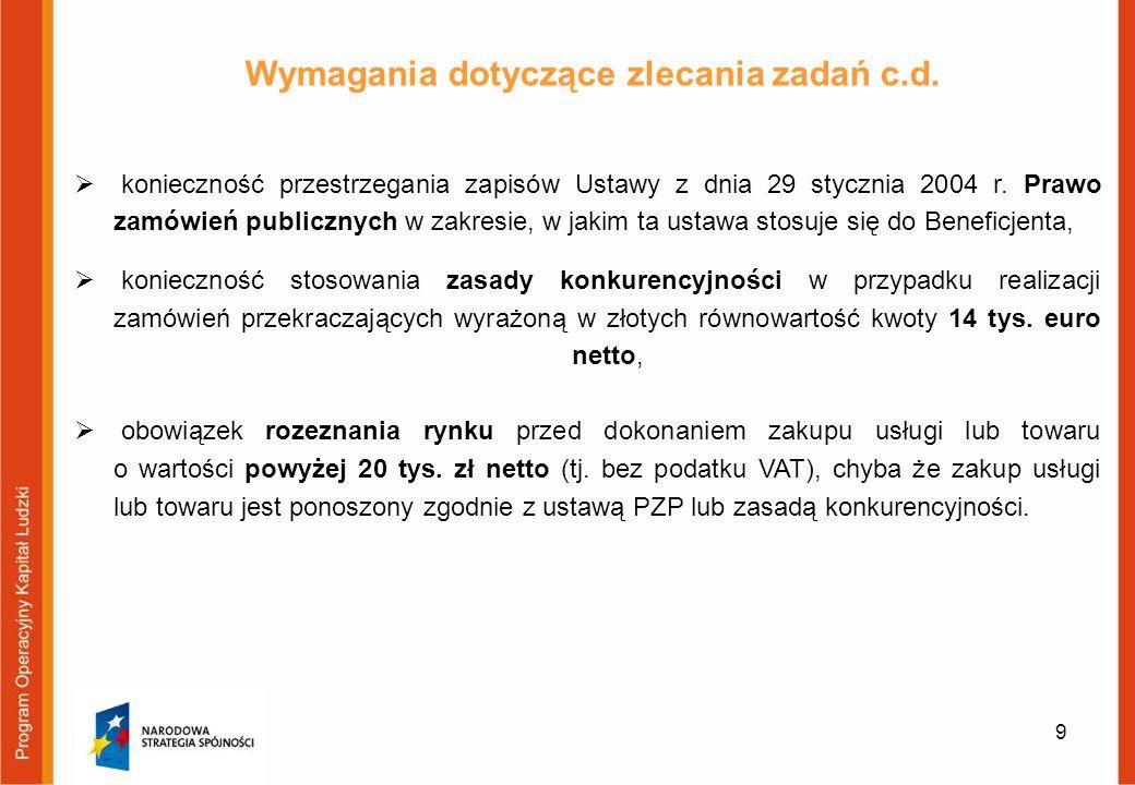 Wymagania dotyczące zlecania zadań c.d.