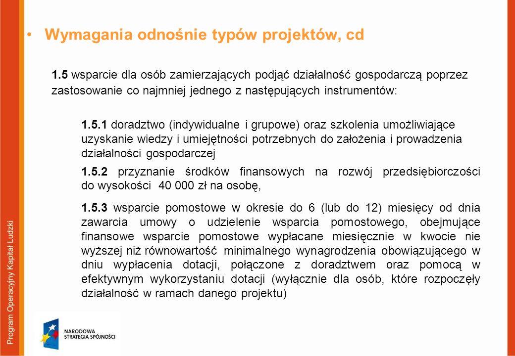 Wymagania odnośnie typów projektów, cd
