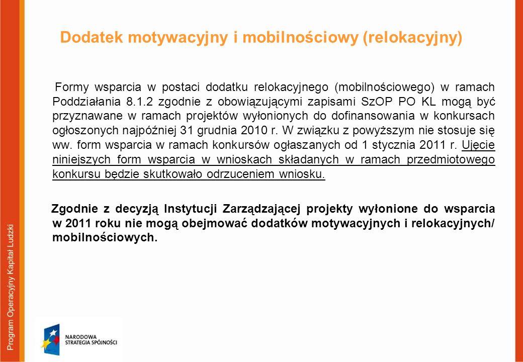 Dodatek motywacyjny i mobilnościowy (relokacyjny)