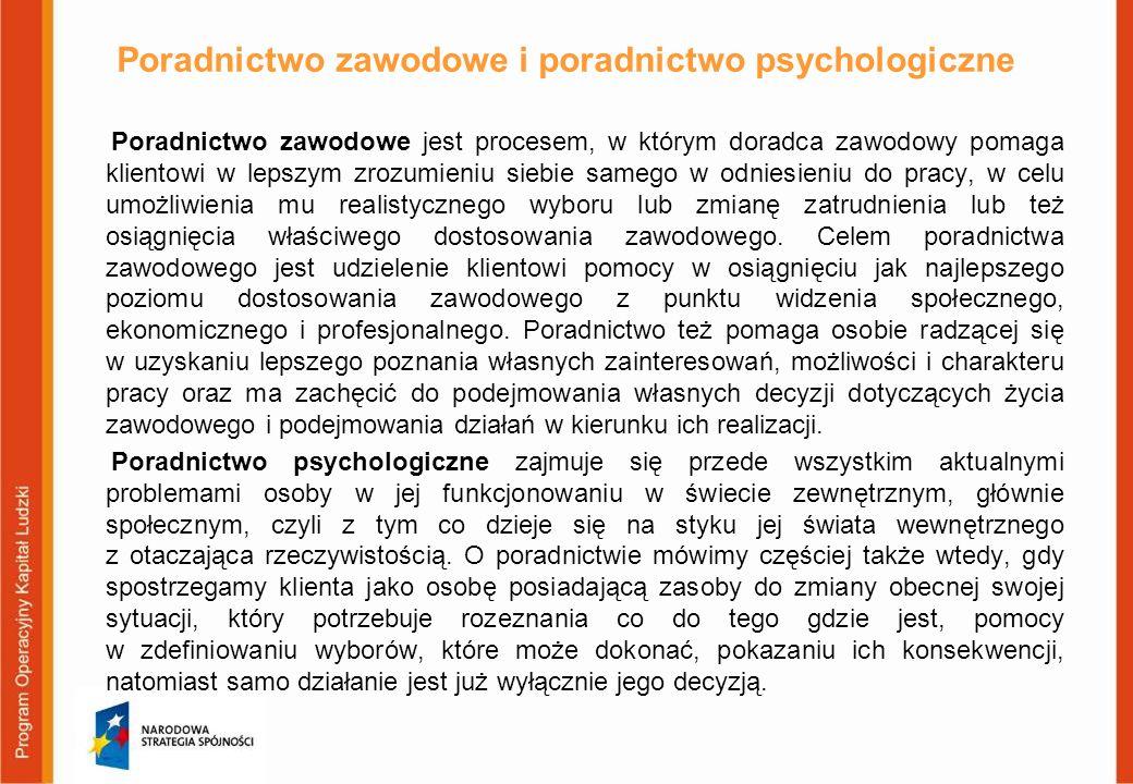 Poradnictwo zawodowe i poradnictwo psychologiczne