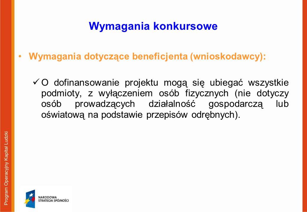 Wymagania konkursowe Wymagania dotyczące beneficjenta (wnioskodawcy):