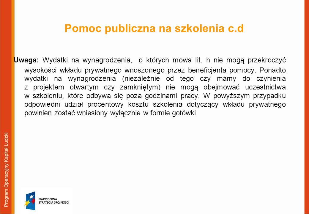 Pomoc publiczna na szkolenia c.d