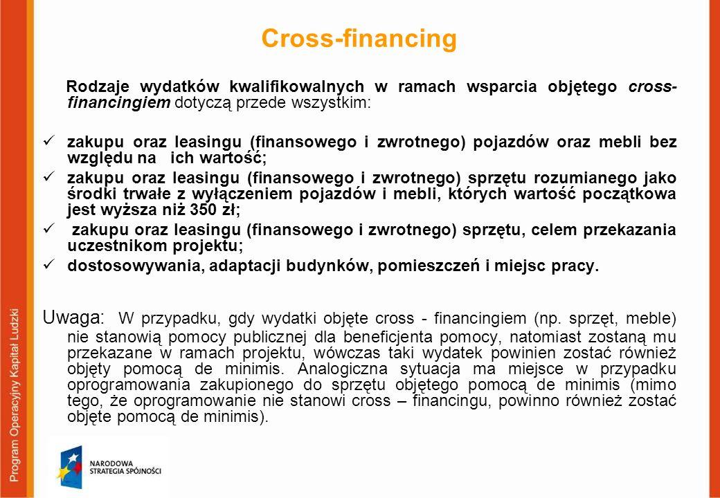 Cross-financing Rodzaje wydatków kwalifikowalnych w ramach wsparcia objętego cross-financingiem dotyczą przede wszystkim: