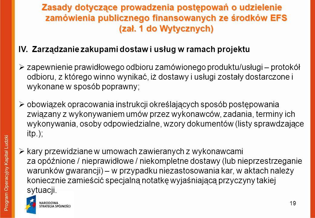 Zasady dotyczące prowadzenia postępowań o udzielenie zamówienia publicznego finansowanych ze środków EFS (zał. 1 do Wytycznych)
