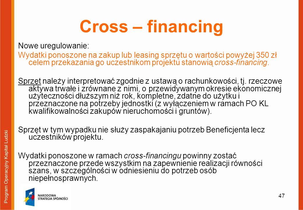 Cross – financing Nowe uregulowanie: