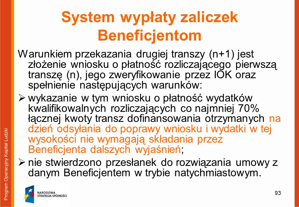 System wypłaty zaliczek Beneficjentom