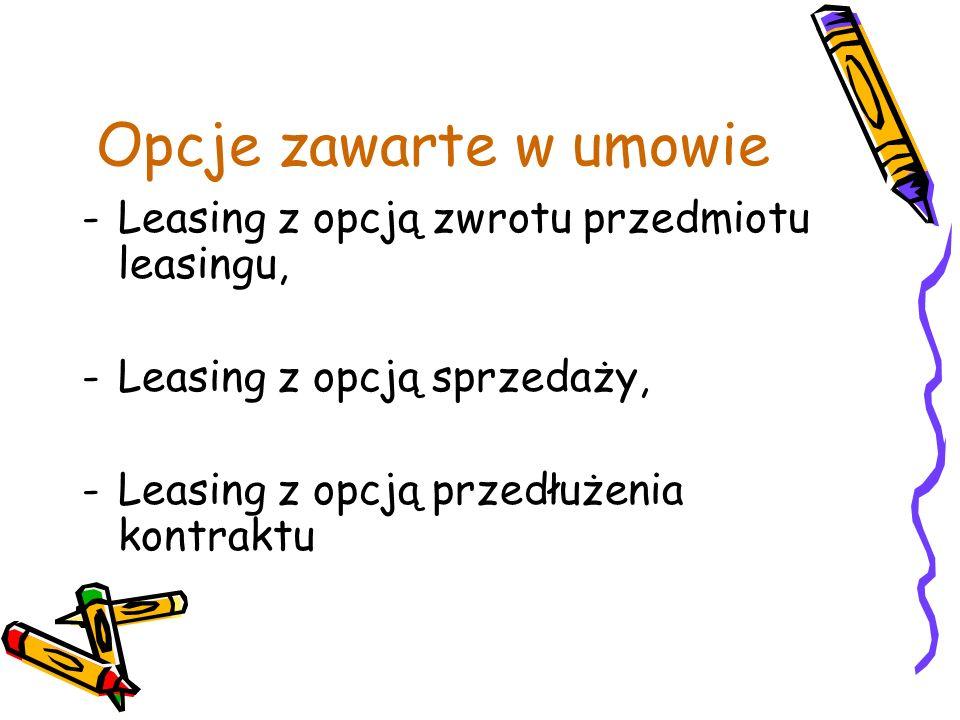 Opcje zawarte w umowie Leasing z opcją zwrotu przedmiotu leasingu,