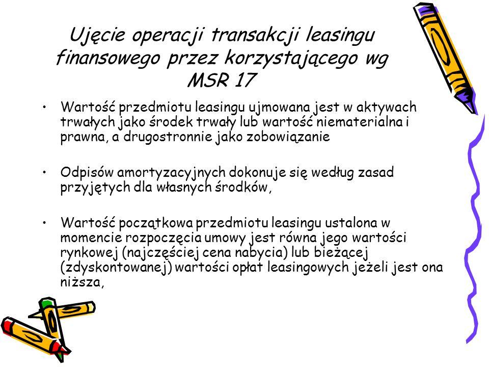 Ujęcie operacji transakcji leasingu finansowego przez korzystającego wg MSR 17
