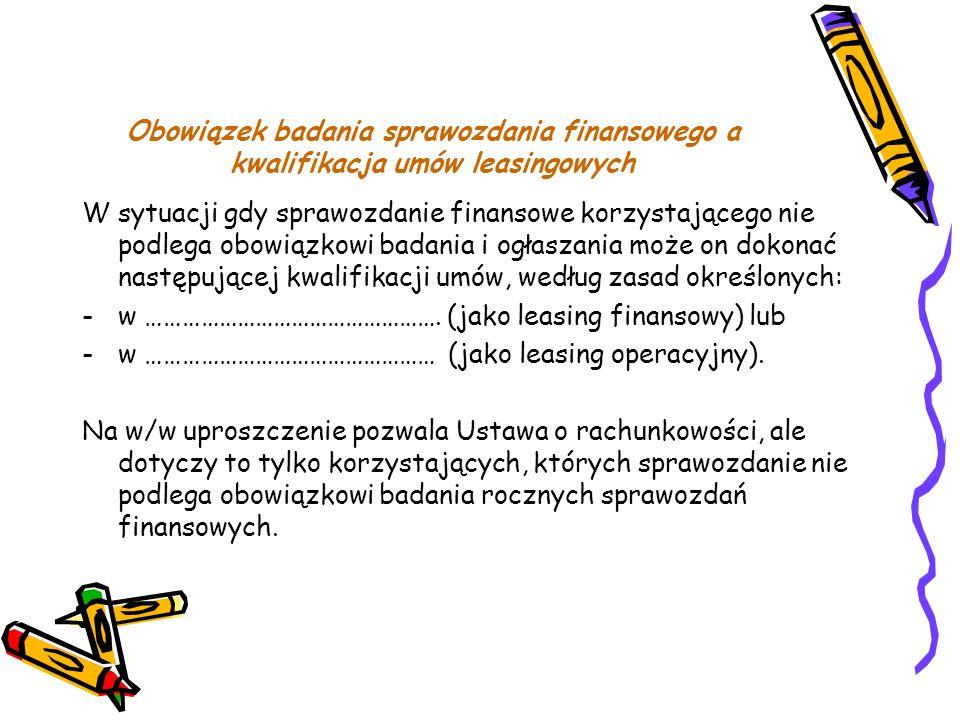 Obowiązek badania sprawozdania finansowego a kwalifikacja umów leasingowych