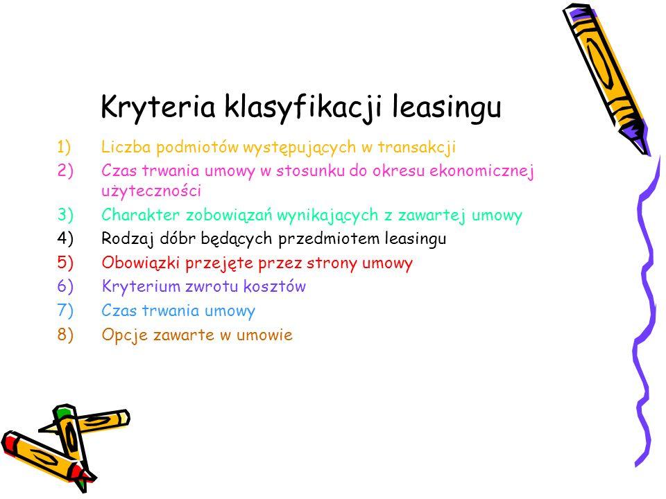 Kryteria klasyfikacji leasingu