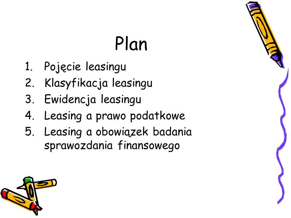 Plan Pojęcie leasingu Klasyfikacja leasingu Ewidencja leasingu